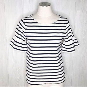 [J. Crew Factory] Black & White Striped Top Sz. S